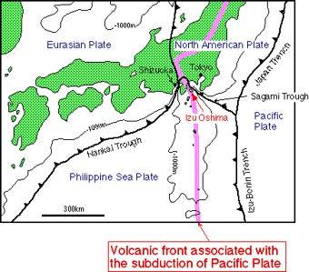 Eruptive History Of Izu Oshima Volcano - Japan volcano map